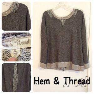 Anthropologie Hem & Thread Zipper Detailed Top